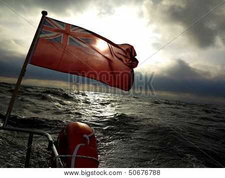 British Maritime Ensign Flag Boat And Stormy Sky