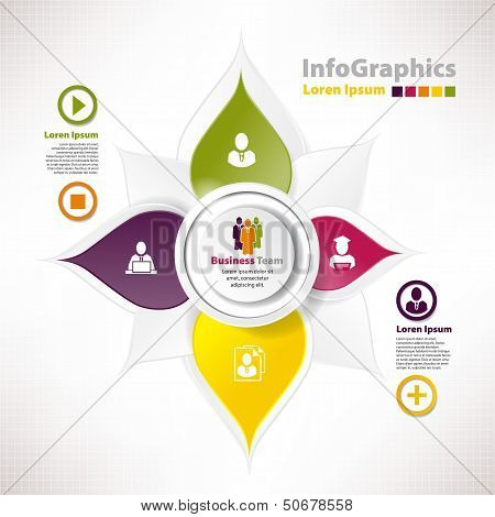 Modern Vector Elements For Infographics With Paper Elements For Business Design In Form Flower