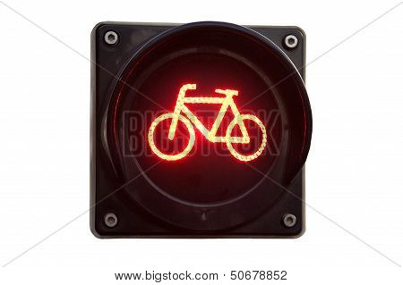 Traffic Light For Bicycles Isolated On White