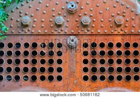 Detail of rusty steam boiler