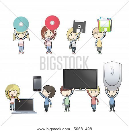 Kids Holding Pc, Phone, Tv, Cd, Diskette And Mousse. Vector Design
