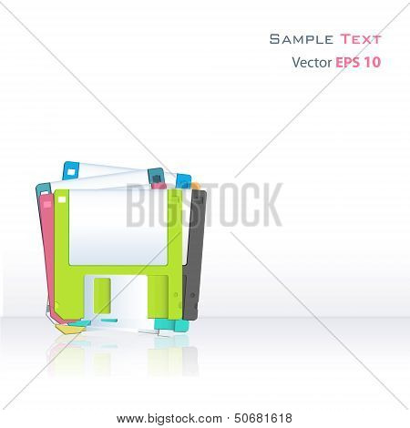 Colorful Diskettes On White Background. Vector Design.