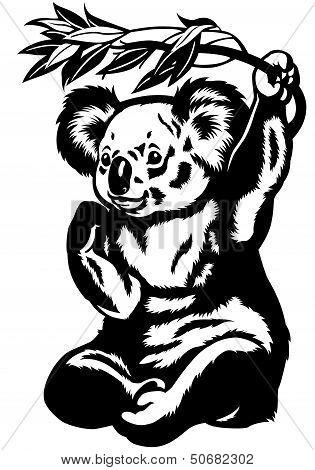 Koala Bear Black White