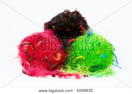 Colorful Knitting Yarns Isolated On White