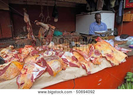Meat For Sale In African Butcher Shop