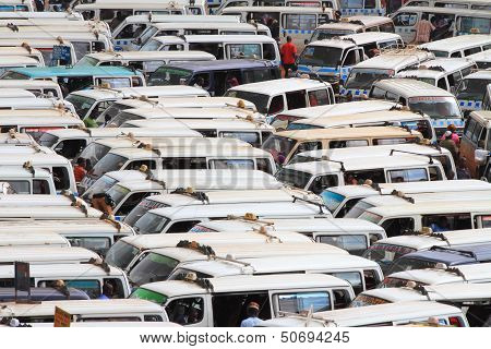 Packed Tight Mini Buses
