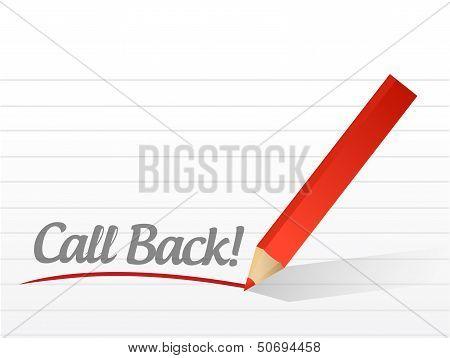 Call Back Written On A White Paper. Illustration