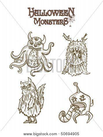 Halloween Monsters Spooky Elements Set Eps10 File.