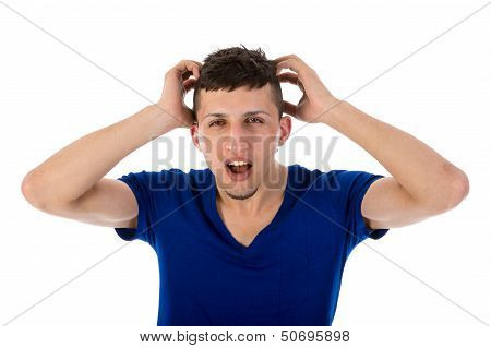 Flabbergasted Man With Hands In Hair