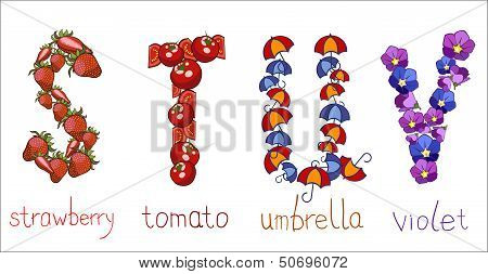 Alphabetic Letters  S, T, U, V