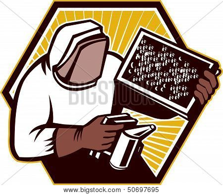 Beekeeper Apiarist Holding Beer Brood Retro