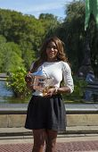 US Open 2013 champion Serena Williams holding US Open trophy in Central Park