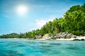 stock photo of pacific islands  - landscape of tropical island beach with perfect sky - JPG