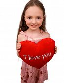 Nice Little Girl With Soft Heart Toy Isolated poster