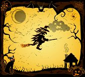 image of broom  - Halloween card with witch on a broom vector - JPG