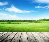 stock photo of wooden table  - field of grass and perfect sky - JPG