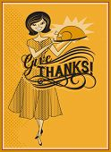 Give Thanks - Retro style Thanksgiving ad, with hostess offering turkey roast
