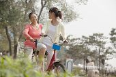 stock photo of tandem bicycle  - Grandmother and granddaughter riding tandem bicycle - JPG