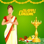 picture of pookolam  - vector illustration of lady wishing happy Onam - JPG