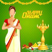 image of pookolam  - vector illustration of lady wishing happy Onam - JPG