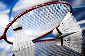 stock photo of badminton player  - Badminton shuttlecock - JPG