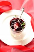 stock photo of panna  - Panna cotta with plum jelly for Christmas - JPG