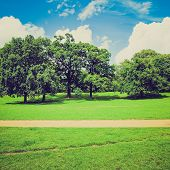 stock photo of kensington  - Vintage looking The Kensington Gardens and Hide Park London UK - JPG