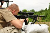 image of gunshot  - Soldier of fortune training with sniper gun - JPG