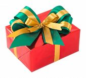 Red Gift Box With Green And Gold Bow Tie