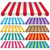 image of awning  - nine colored awnings - JPG
