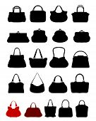 stock photo of zipper  - Black Silhouettes of various  handbags - JPG