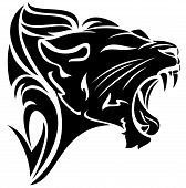 stock photo of growl  - roaring lion black and white vector tribal design - JPG