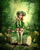 stock photo of fairyland  - 3D computer graphics of a girl with a wreath on her head sitting on a tree stump - JPG