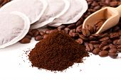 image of coffee grounds  - Fresh ground coffee with coffee Bean and coffee bags - JPG