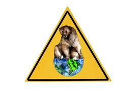 image of stewardship  - A yellow warning sign with a brown bear on top of the world symbolizing the need for environmentally friendly practices - JPG