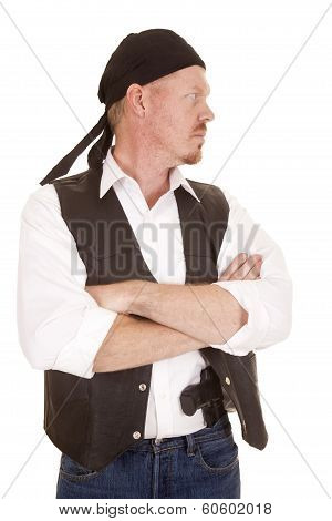 Man Arms Folded Concealed Gun Look Side