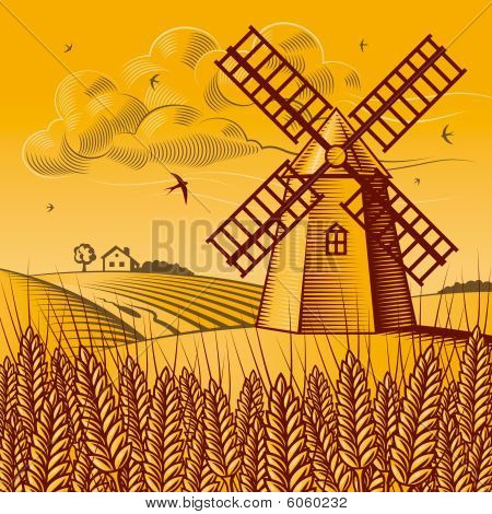 Landscape with windmill