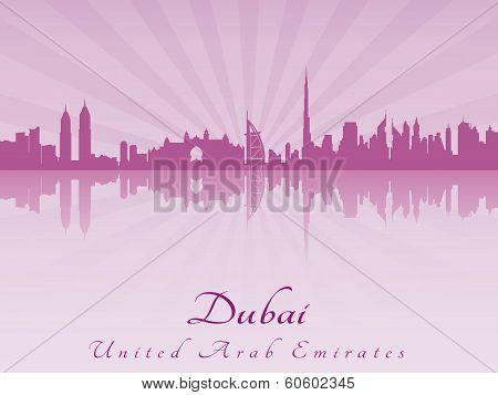 Dubai Skyline In Purple Radiant Orchid
