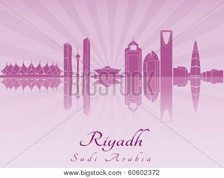 Riyadh Skyline In Purple Radiant Orchid
