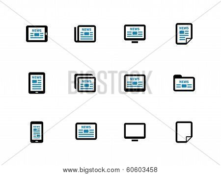 Newspaper duotone icons on white background.
