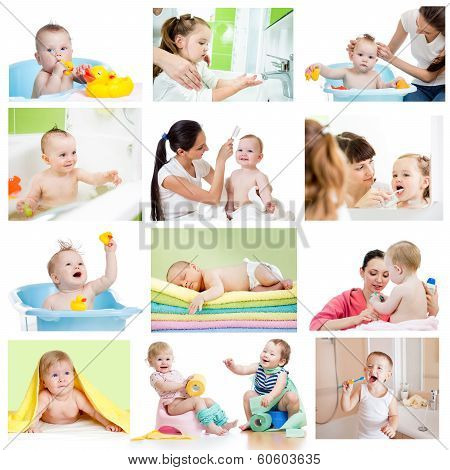 Collection Of Babies Or Kids At Bath-time. Hygiene Concept For Little Children.