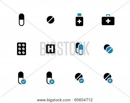 Pills, medication duotone icons on white background.