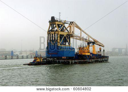 Little Boat In The Klaipeda Port In The Fog