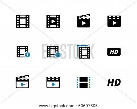 Video duotone icons on white background.