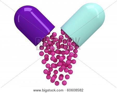 Opened pill capsule with crimson granules