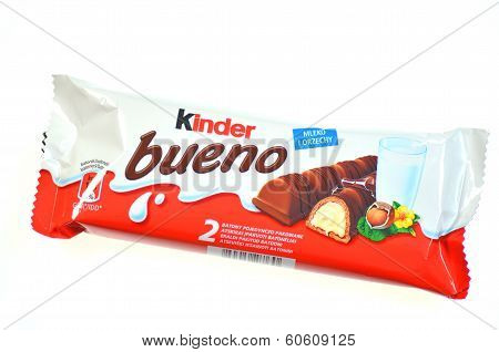 Kinder Bueno chocolate bars isolated on white background