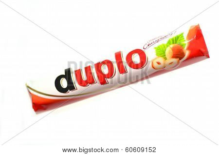 Duplo chocolate bar isolated on white background