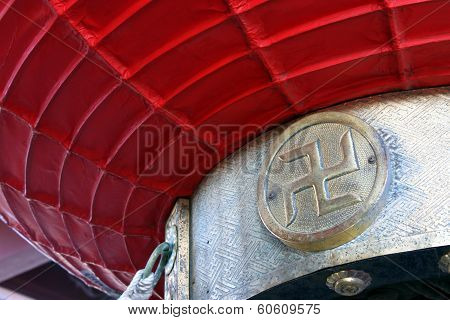 Close Up Of Swastika In A Japanese Temple In Tokyo