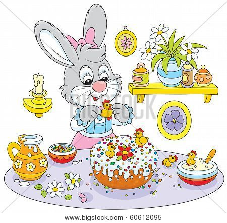 Bunny cooks a holiday cake to Easter