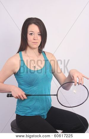 Beauty in Blue Singlet with Racket